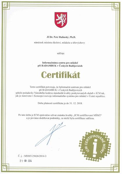 Certifikát MŠMT